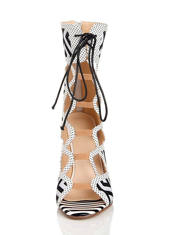 Women's Stiletto Heel With Lace Up Peep Toe Flock Sandal Mid-Calf Boots