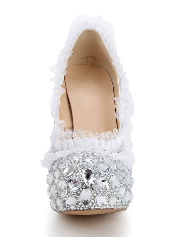 Women's Stiletto Heel Platform Satin Closed Toe With Rhinestone Wedding Shoes