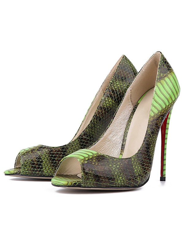 Women's Snake Print PU Peep Toe Stiletto Heel Evening Shoes
