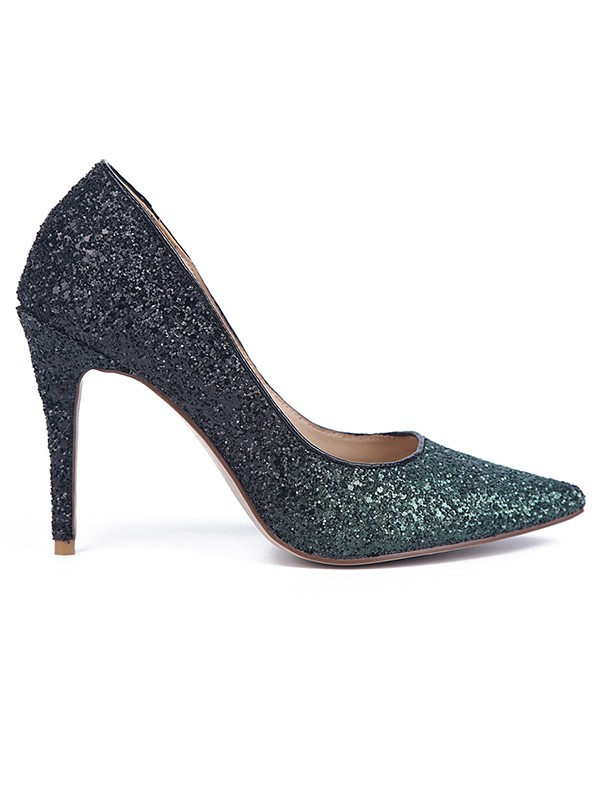 Women's Sparkling Glitter Stiletto Heel Closed Toe Evening Shoes