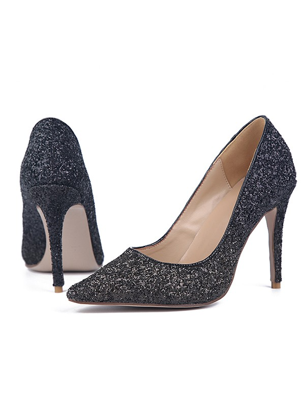 Women's Sparkling Glitter Stiletto Heel Closed Toe Party Shoes