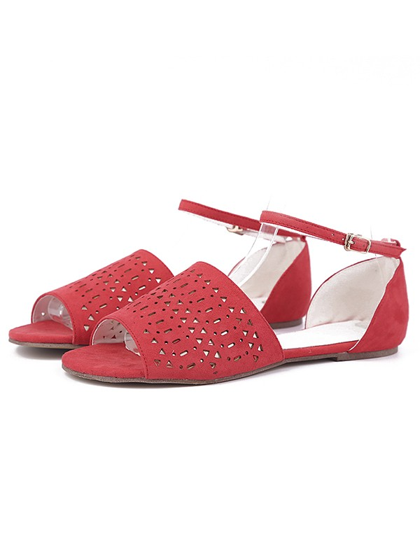 Women's Flock Flat Heel Peep Toe With Hot Drilling Sandals Shoes