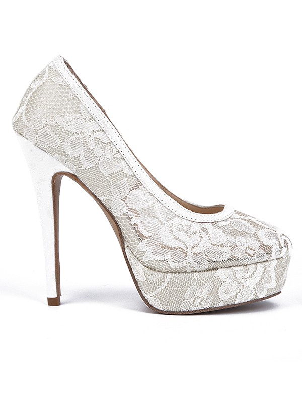 Women's Lace Stiletto Heel Closed Toe Platform Shoes