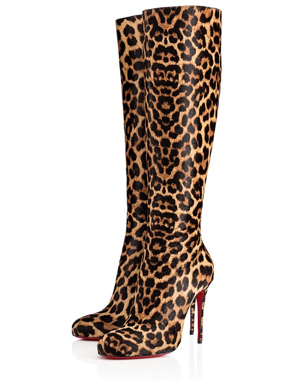 Women's Leopard Print Horsehair Closed Toe Stiletto Heel Knee High Boots