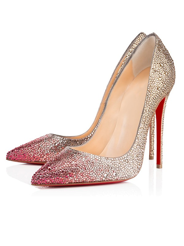 Women's Sparkling Glitter Closed Toe with Rhinestone Stiletto Heel Party Shoes