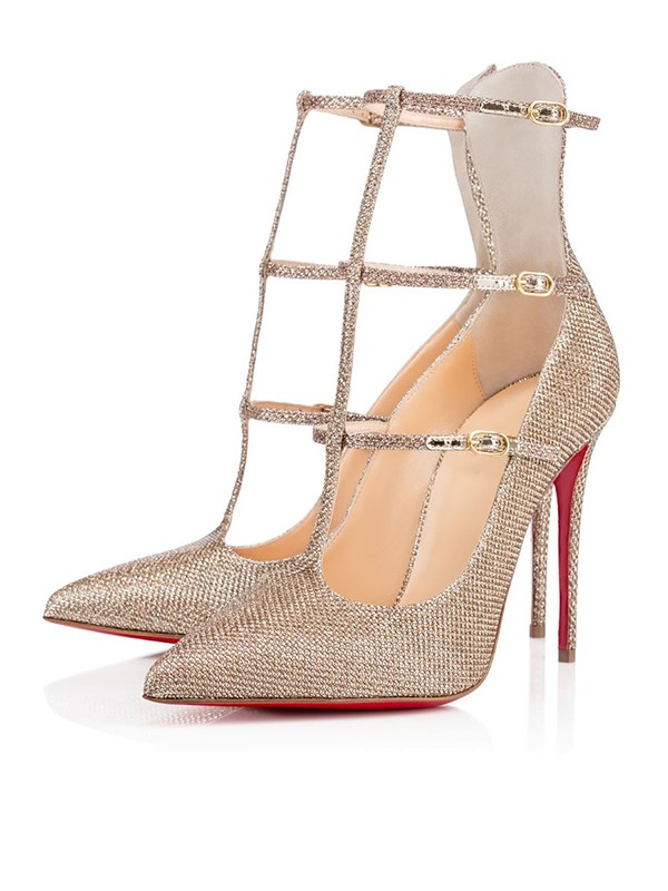 Women's Sparkling Glitter Closed Toe with Buckle Stiletto Heel Party Shoes