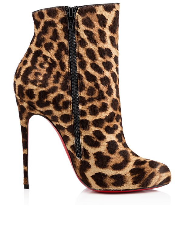 Women's Leopard Print Horsehair Closed Toe Stiletto Heel Ankle Boots