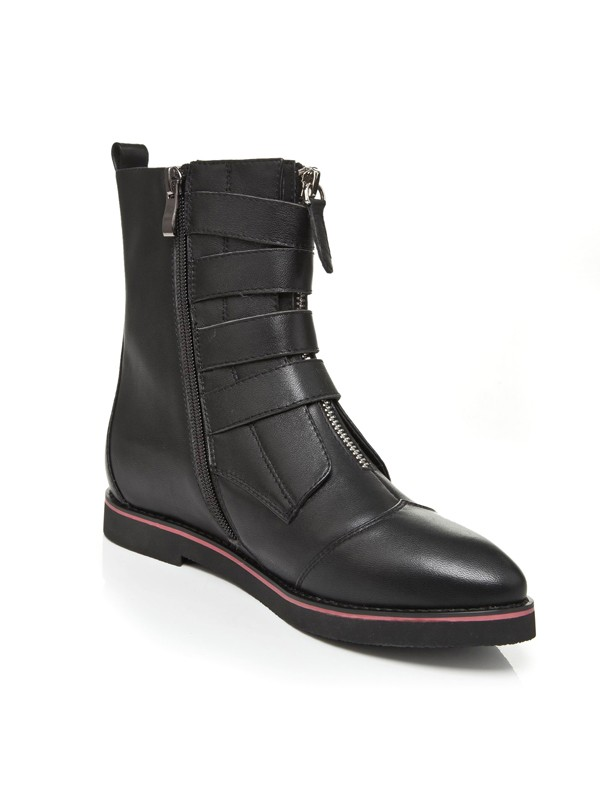 Women's Flat Heel Closed Toe Cattlehide Leather With Zipper Mid-Calf Boots