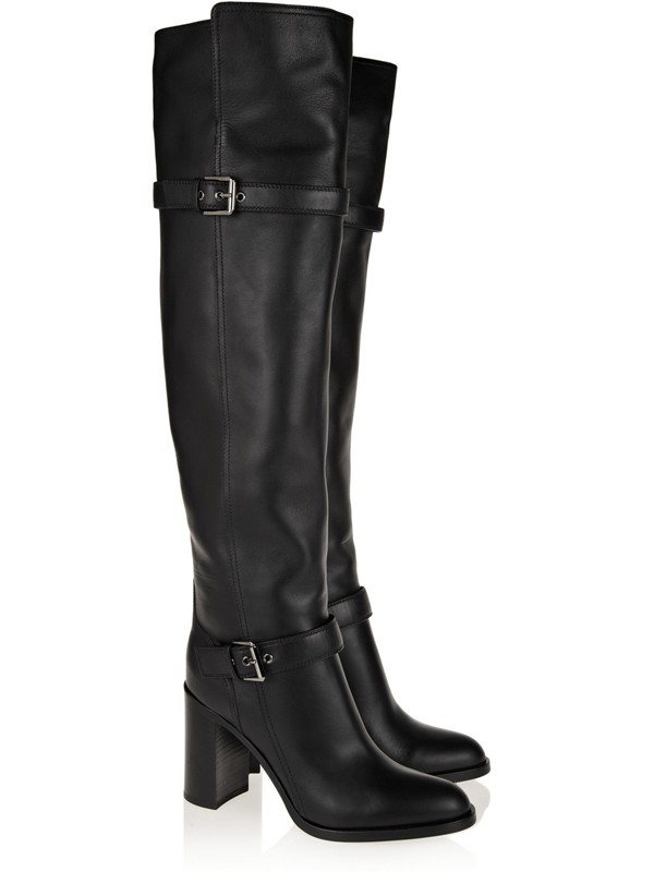 Women's Chunky Heel Cattlehide Leather With Buckle Knee High Boots