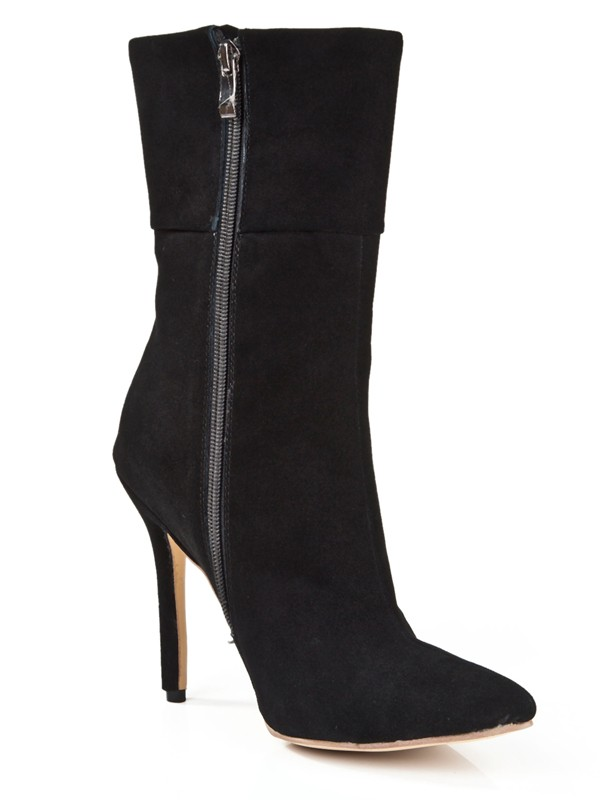 Women's Suede Stiletto Heel Closed Toe With Zipper Mid-Calf Boots