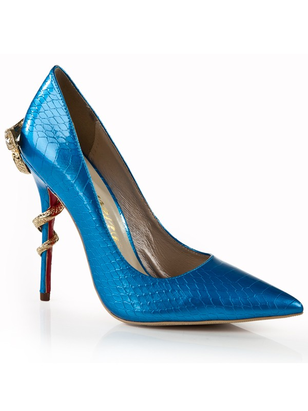 Women's Stiletto Heel Royal Blue Closed Toe With Rhinestone Dress Shoes