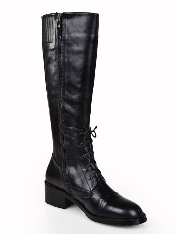 Women's Cattlehide Leather Kitten Heel Closed Toe With Zipper Knee High Boots