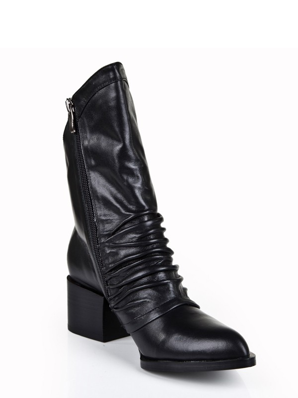 Women's Cattlehide Leather Kitten Heel Closed Toe With Zipper Mid-Calf Boots