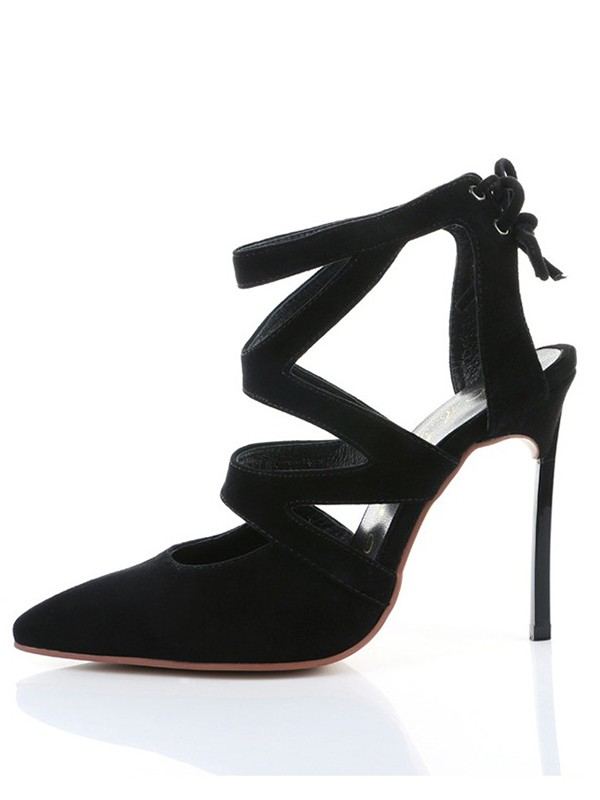 Women's Suede Closed Toe Stiletto Heel With Knots Shoes