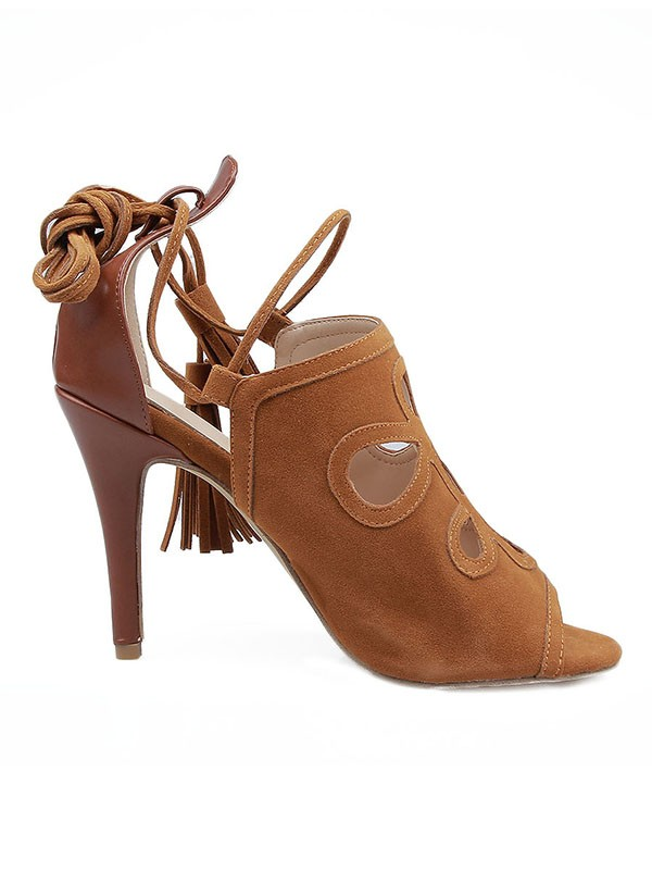 Women's Suede Stiletto Heel Peep Toe With Lace-up Sandals