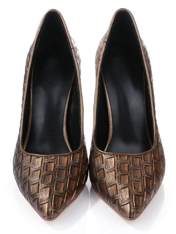 Women's Stiletto Heel Closed Toe PU With Ostrich Pattern Shoes