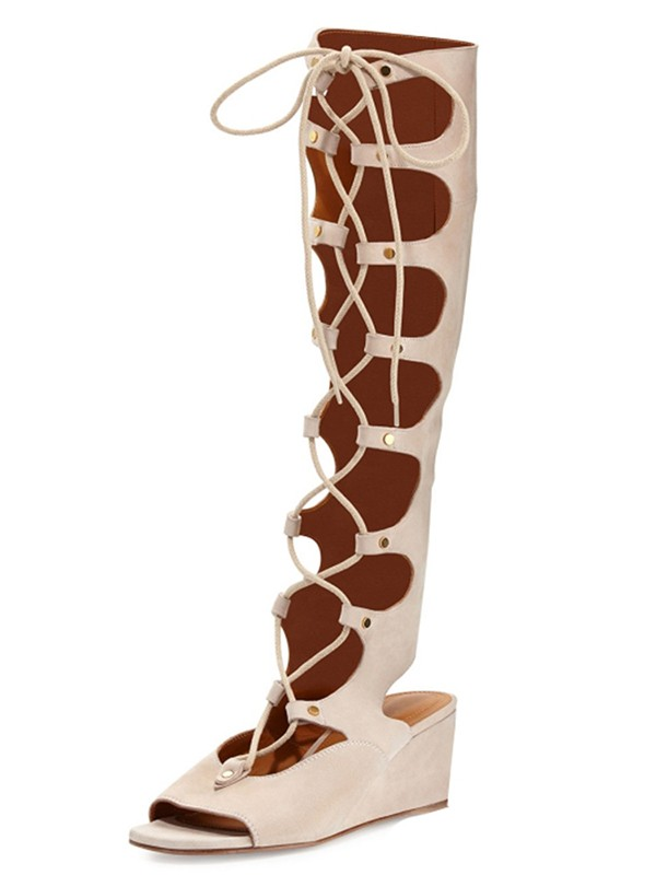 Women's Suede Wedge Heel Peep Toe With Lace-up Sandal Knee High Boots