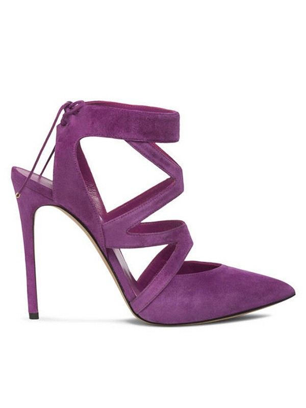 Women's Stiletto Heel Suede Closed Toe With Lace-up Sandal Party Shoes