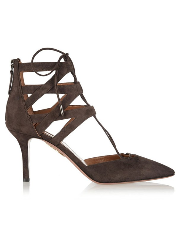 Women's Suede Stiletto Heel Closed Toe With Lace-up Sandal Shoes