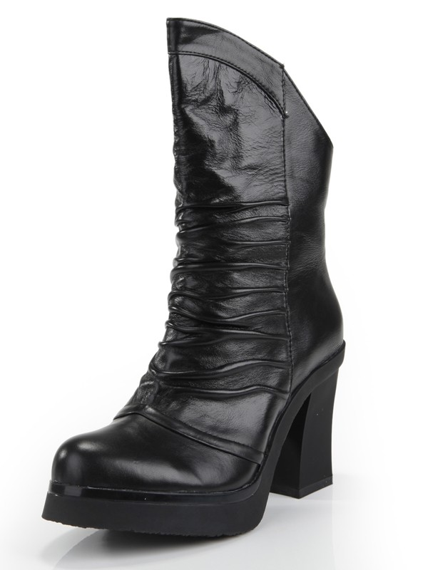 Women's Cattlehide Leather Chunky Heel Closed Toe With Ruched Mid-Calf Boots
