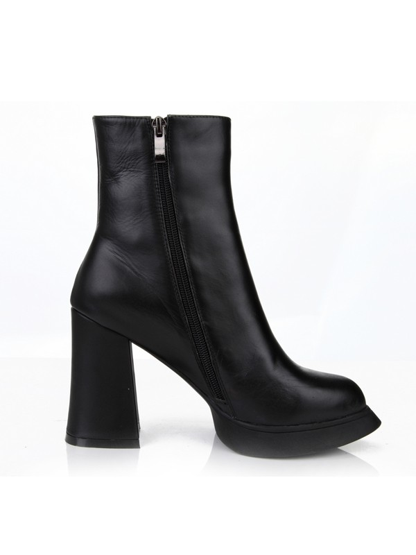 Women's Chunky Heel Closed Toe Cattlehide Leather With Zipper Mid-Calf Boots