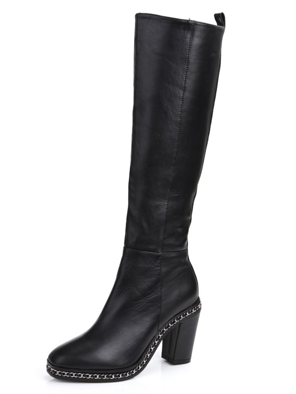 Women's Cattlehide Leather Chunky Heel Closed Toe With Chain Knee High Boots