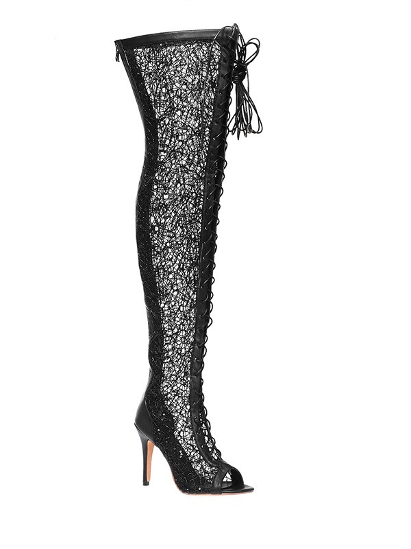 Women's Lace Platform Peep Toe Stiletto Heel With Lace-up Over The Knee Boots