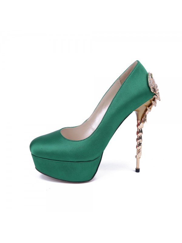Women's Stiletto Heel Platform Satin Closed Toe With Rhinestone Party Shoes