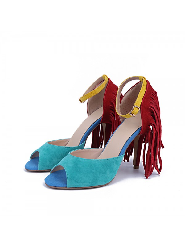 Women's Suede Peep Toe Stiletto Heel With Tassel Evening Shoes
