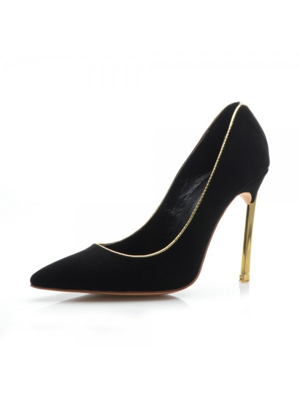 Women's Black Suede Closed Toe Stiletto Heel Evening Shoes