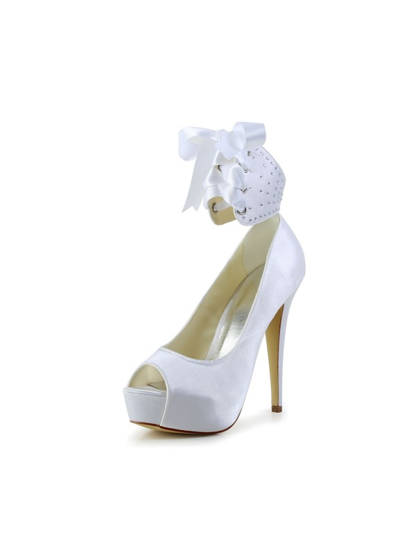 Women's Satin Peep Toe Stiletto Heel With Bowknot Wedding Shoes