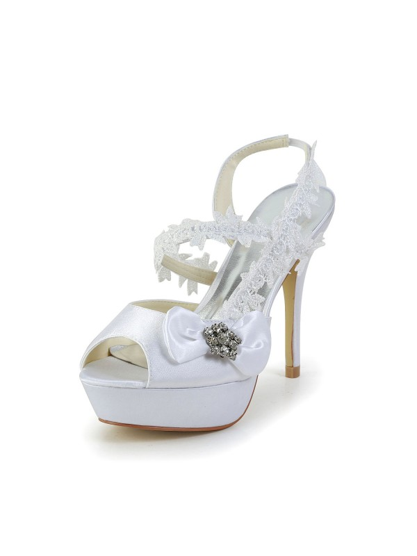 Women's Satin Peep Toe Stiletto Heel Shoes With Wedding Bowknot
