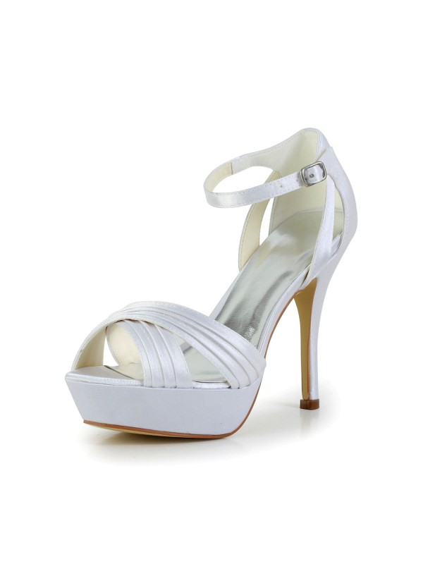 Women's Satin Stiletto Heel Peep Toe Platform Sandals Wedding Shoes With Buckle