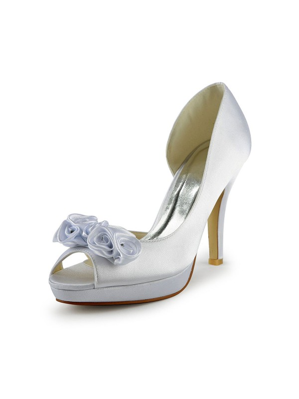 Women's Satin Stiletto Heel Peep Toe With Flower Wedding Shoes