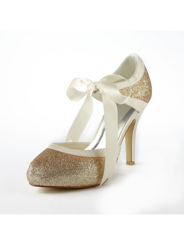 Women's Satin Stiletto Heel Pumps With Sparkling Glitter Wedding Shoes
