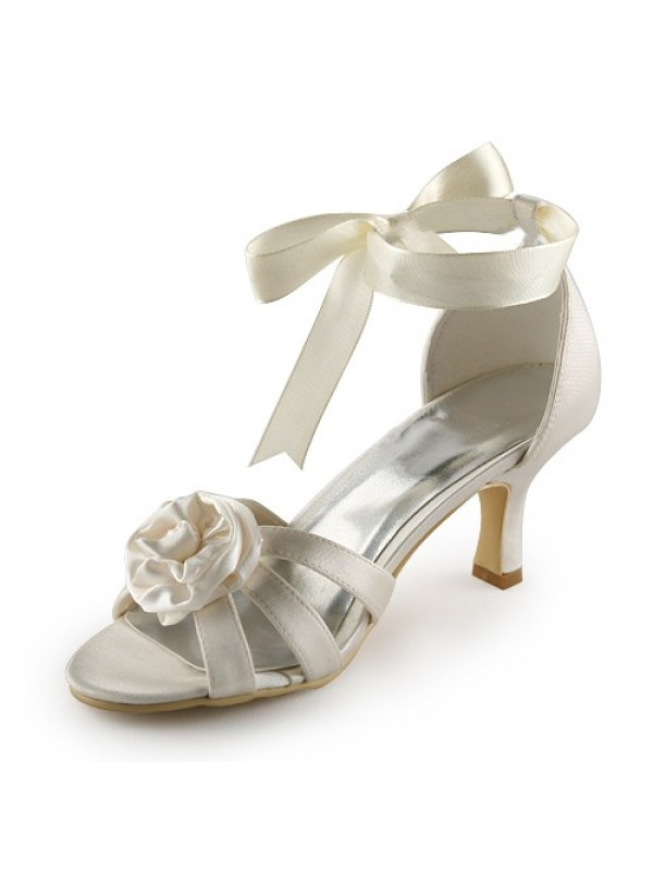 Women's Satin Stiletto Heel Sandals Wedding Shoes With Satin Flower