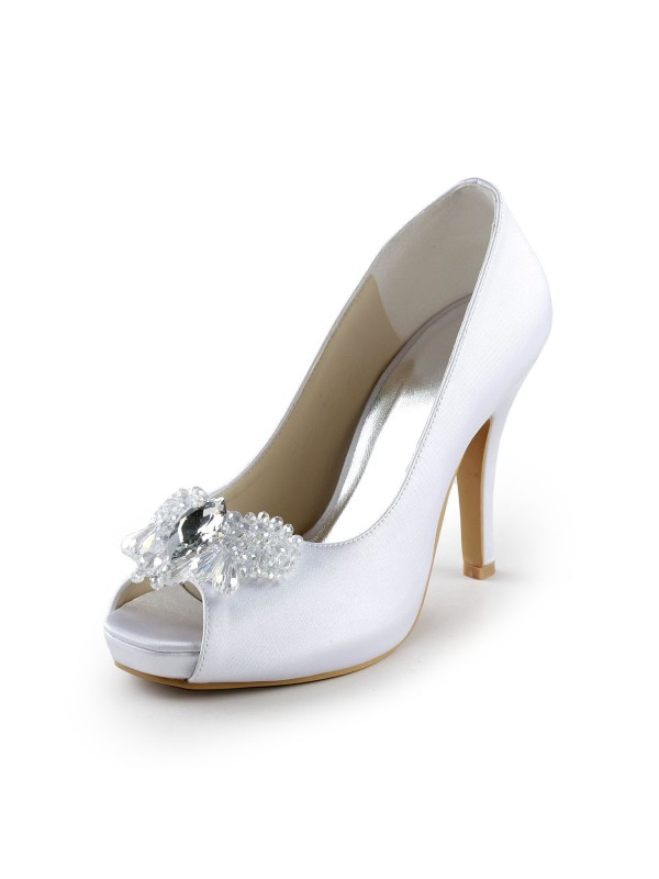 Women's Satin Upper Stiletto Heel Peep Toe Pumps with Rhinestone Wedding Shoes
