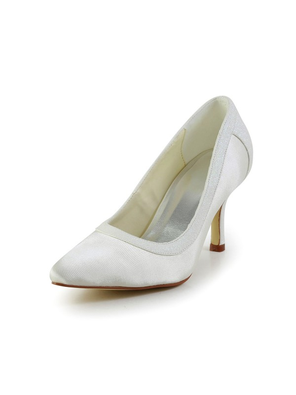 Women's Simple Satin Stiletto Heel Closed Toe Wedding Shoes