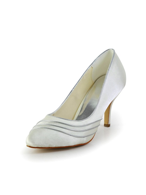 Women's Simple Satin Stiletto Heel Pumps Wedding Shoes