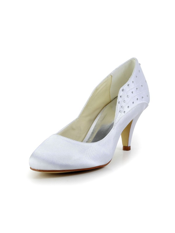 Women's Simple Satin Closed Toe Cone Heel Wedding Shoes With Rhinestone