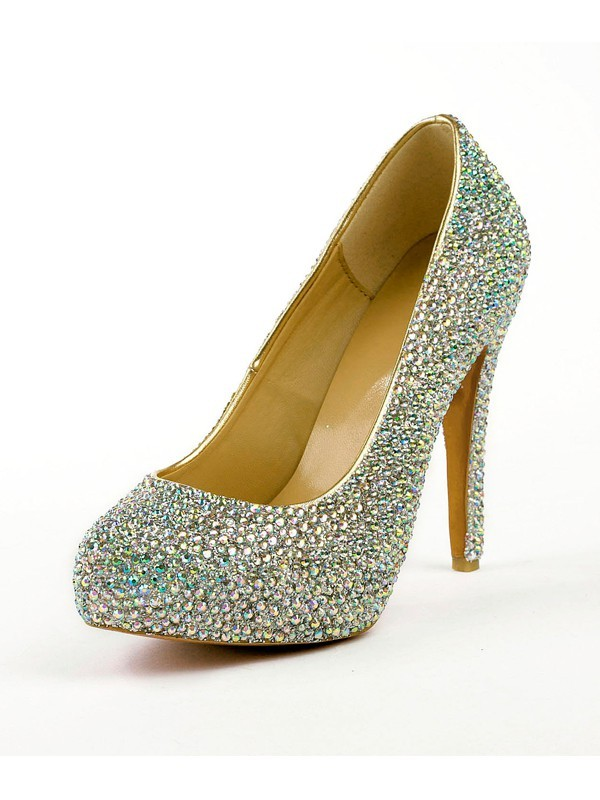 Women's Stiletto Heel High Heels With Rhinestones Platform Shoes