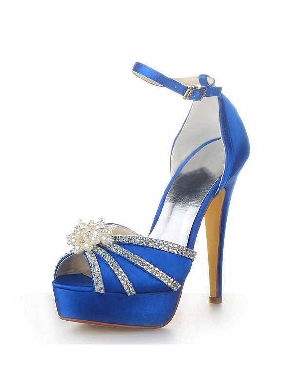 Women's Satin Stiletto Heel Platform Peep Toe With Pearl Wedding Shoes