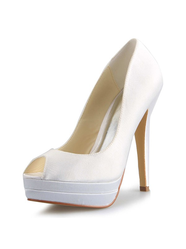 Women's Satin Stiletto Heel Peep Toe Platform Wedding Shoes