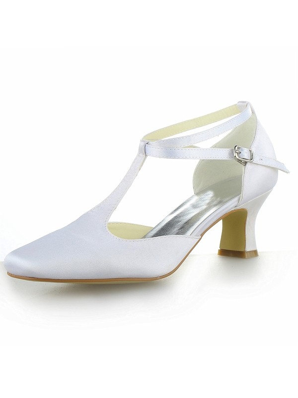 Women's White Satin Closed Toe Chunky Heel With Buckle Shoes