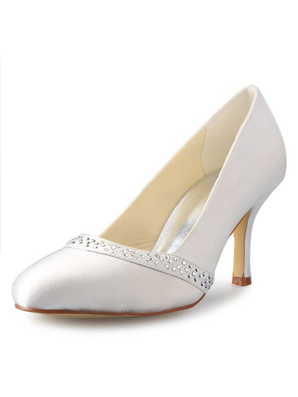 Women's Stiletto Heel Closed Toe Satin With Rhinestone Wedding Shoes