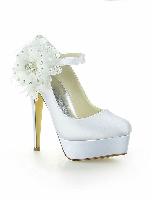Women's Satin Platform Closed Toe With Flower Stiletto Heel Wedding Shoes