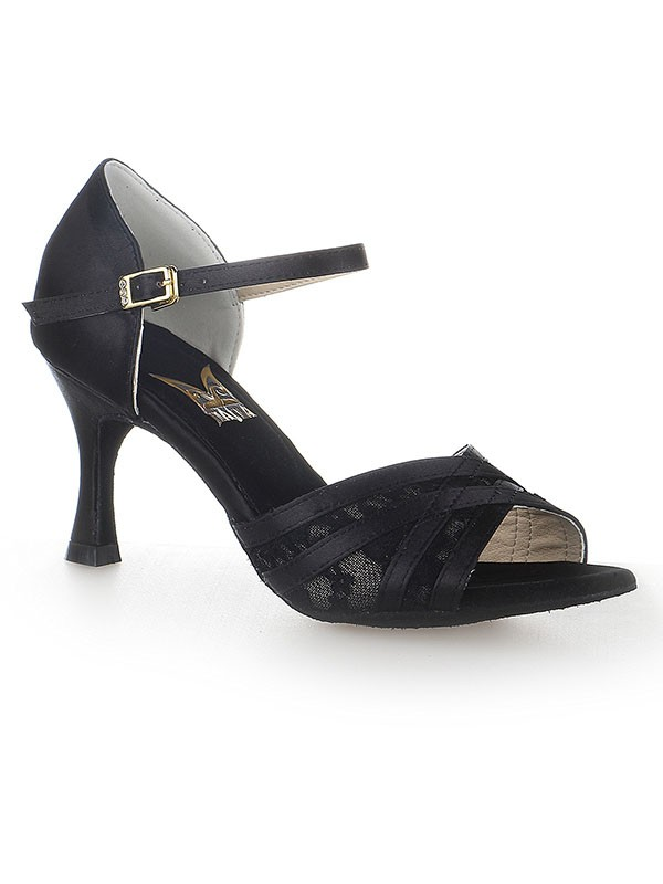 Women's Peep Toe Stiletto Heel Satin With Buckle Dance Shoes
