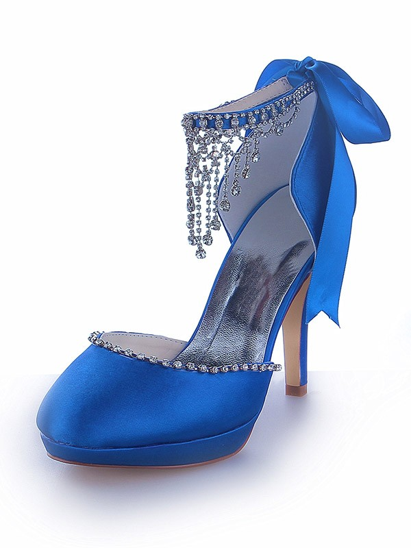 Women's Mary Jane Satin Platform Closed Toe Cone Heel With Rhinestone Shoes