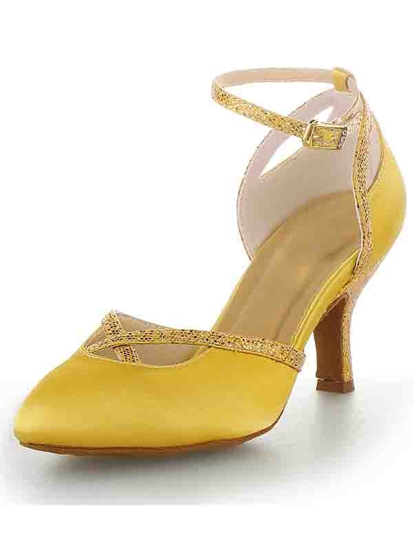 Women's Cone Heel Satin Closed Toe With Buckle Shoes