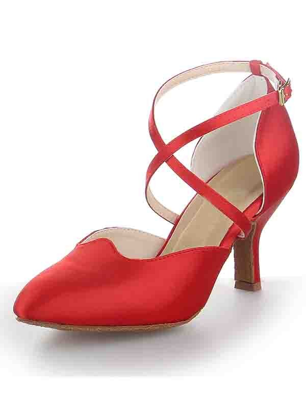 Women's Satin Stiletto Heel Close Toe With Buckle Dance Shoes